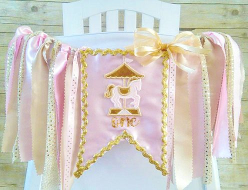 Carnival Carousel First Birthday High Chair Banner-Carnival Carousel Birthday High Chair Banner, Photo Prop, Can Do Custom Themes, High Chair Banner, 1st Birthday Cake Smash, Pink Gold, pink and gold, light pink, birthday party