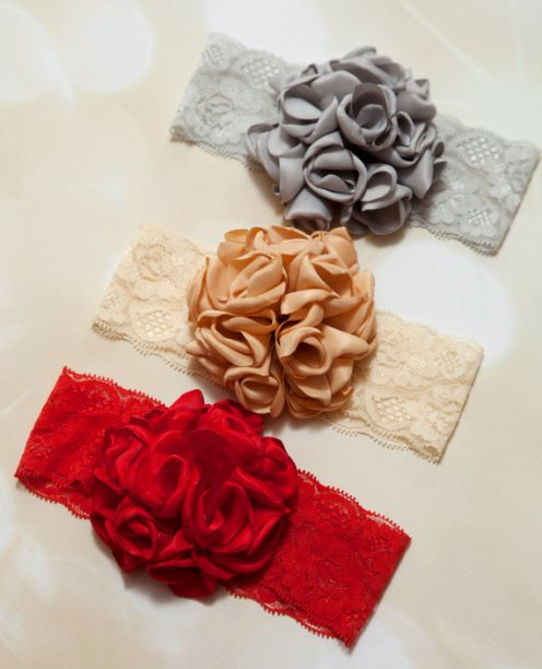 Holiday Lace Flower Headband-Holiday, Beautiful, Flower, Infant, Toddler, Lace, Bow Headband, red, silver, gold, infant, baby girl, christmas