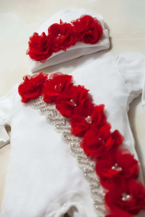 White & Red Holiday Layette Romper & Matching Chiffon Hat-Holiday, Infant, Baby, Layette, White, Cotton ,Baby Romper, Red, Chiffon Flowers ,Rhinestones, newborn, infant, christmas oufit