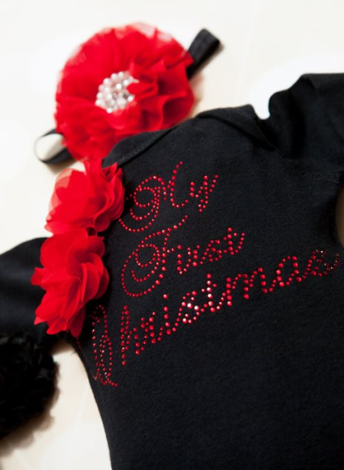 Black Rhinestone My First Christmas Onesie & Matching Flower Headband-Holiday, Black, Baby ,Girl ,One Piece, Set, Infant, One Piece Set, Holiday Set, My First Christmas,Matching Headband