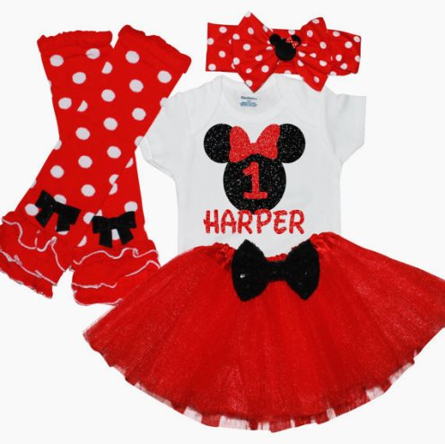 Miss Mouse Girls First Birthday Glitter Tutu Outfit Set-Girls first birthday outfit, Minnie Mouse birthday outfit, cake smash, baby Girl 1rst birthday, Red Black, girls 1st birthday, red tutu, birthday, birthday outfit, minnie mouse, mickey mouse, disney