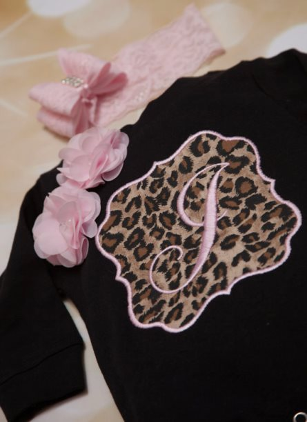 Black & Pink Personalized Leopard Romper Outfit Set-Personalized, Baby, Girl, Romper Set, Black Embroidered, Infant, Romper, Set  Beautiful, Leopard, Lace Headband, leopard pink, leopard black, initial, monogram, monogrammed, outfit