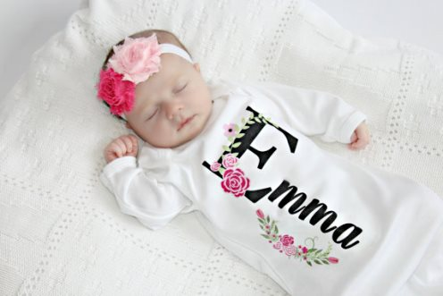 Newborn baby girl boutique clothing gowns outfits take home sets personalized floral newborn layette gown headband set personalized baby gift girl negle Images