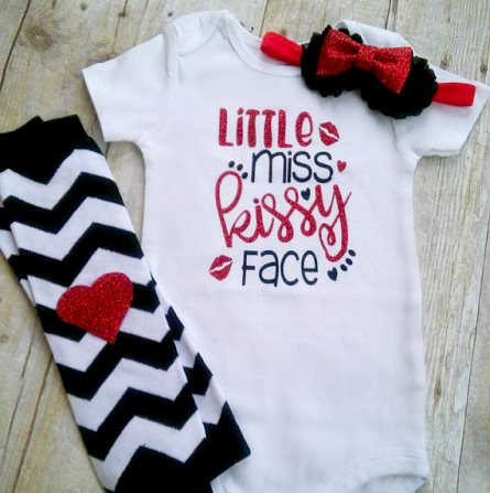 Little Miss Kissy Face Glitter Onesie Valentine Outfit Set-Baby Valentine Outfit, Little Miss Kissy Face, Newborn Valentine Outfit, Valentine Bodysuit, Valentine Shirt, Legwarmers, Headband, red and black, valentine, valentine onesie, valentines shirt, valentine's shirt, infant, baby, girl, outfit