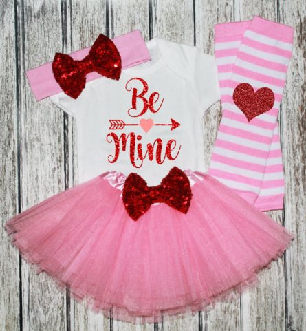 Be Mine Red & Pink Glitter Valentine Outfit Tutu Set-Pink Red Valentine's Day Outfit, Be Mine , Pink red Heart outfit, Pink tutu, red pink tutu outfit, Valentines day pictures, baby girls valentine outfit