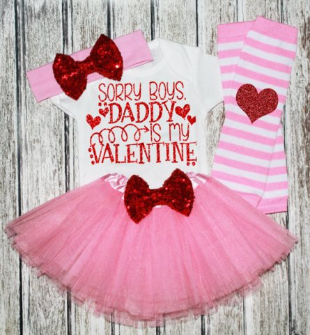 Red & Pink Daddy's Valentine Glitter Tutu Outfit Set-Daddys Valentine , Pink Red Valentine's Day Outfit, Pink red Heart outfit, Pink tutu, red pink tutu outfit, Valentines day pictures, baby valentine