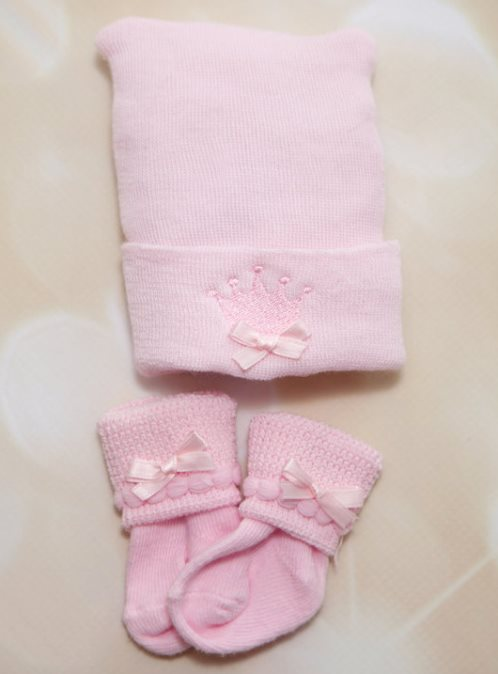 Newborn Baby Girl Princess Hospital Baby Hat and Socks Set-hospital, take home, newborn hat, socks, pink, crown, princess