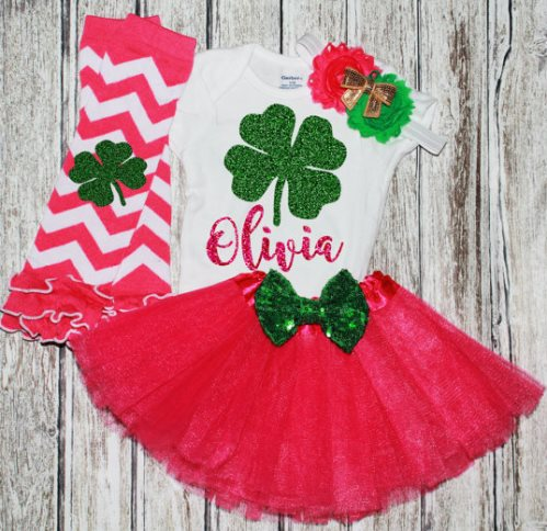 Hot Pink & Green St. Patricks Day Glitter Clover Tutu Outfit Set-St. Patrick's, First, Green, Gold, Hot Pink, Outfit, St Patricks day, Birthday tutu set, St patricks day, Legwarmers, green Pink, sequin bow