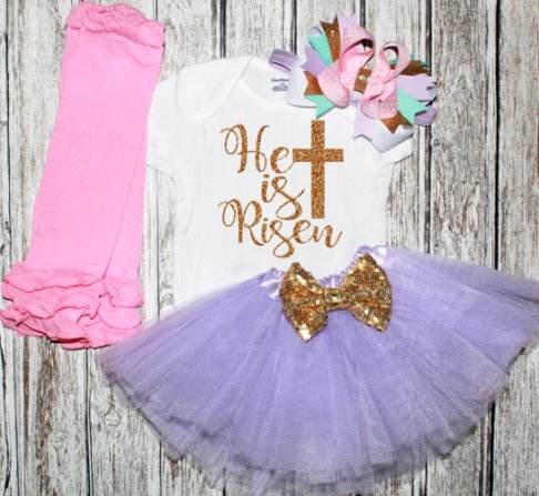 He Is Risen Baby Girls Easter Tutu Outfit Set-easter dress, easter outfit, christian, easter, lavender pink, tutu set, glitter onesie