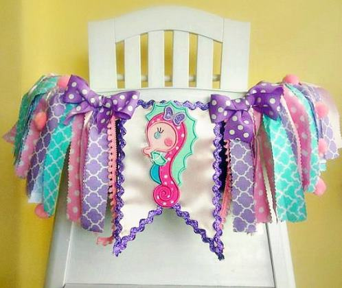 Seahorse Under the Sea First Birthday High Chair Banner-mermaid, sea, ocean, seahorse, under water, beach, Seahorse Under the Sea 1st Birthday High Chair Banner, Fabric Banner, 1st Birthday Highchair Banner, 1st Birthday Mermaid Banner, birthday party, purple, aqua, mint, pink