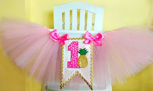 Pink & Gold Pineapple First Birthday High Chair Tutu-Pineapple Birthday High Chair Tutu, 1st Birthday High Chair Banner, Pink and Gold High Chair Tutu, Gold Glitter, first birthday gold, pineapple, party