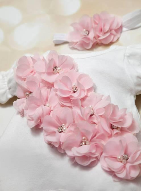 White with Pink Chiffon Flowers Couture Bubble Romper-Bubble Romper, Baby Girl, Romper Set ,White ,Infant One Piece Set,Chiffon,  Headband, newborn, take home, hospital