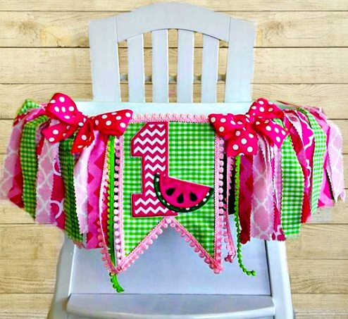Pink Water Melon Picnic First Birthday High Chair Banner-Pink Watermelon Picnic Birthday High Chair Tutu, Fabric Banner, Can Do Custom Themes, High Chair Banner, 1st Birthday Cake Smash, hot pink, green , birthday party banner, highchair, banner, summer