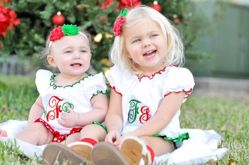 Personalized Monogrammed Christmas Dress-monogram, personalized dress, christmas dress, baby dress, toddler dress, red and green, holiday, dress,