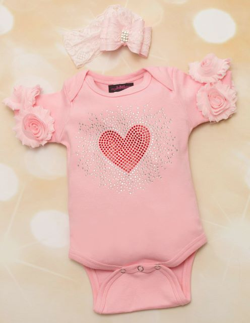 Baby Girls Pink Valentines Day Onesie with Red Rhinestone Heart & Matching Lace Headband Outfit Set-pink, heart, red, valentine, valentines, valentine's day, love, outfit, baby girl infant, flower sleeves, girly, bling, rhinestone, pink and red