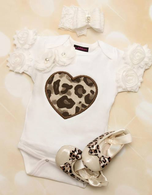 Baby Girls White Onesie with Brown Leopard Heart & Matching Lace Headband Outfit Set-brown, white, leopard, animal print, cheetah, valentine, valentines, valentine's day, love, outfit, set, baby girl