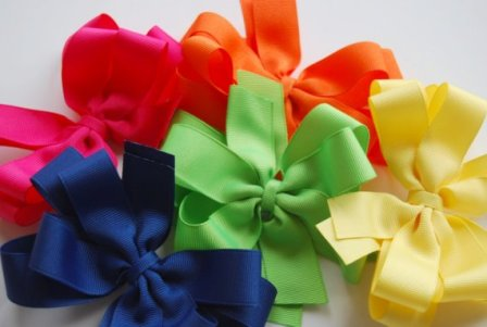 Bold & Bright Set of 5 Hair Bows-gift set, hair, bow, hairbows, summer, colorful
