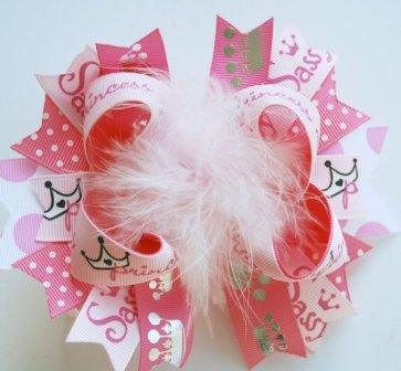 Pink Sassy Princess Boutique Hair Bow-tiara, crown, princess, pink, girlie, girly