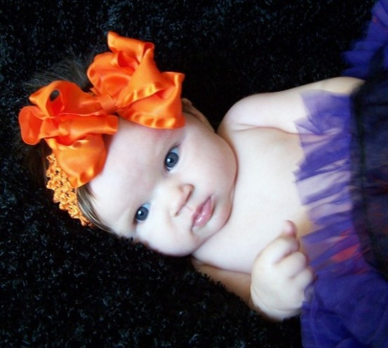 Baby Girls Orange Double Ruffle Hair Bow Headband-orange, hairbow, halloween, double ruffle, baby, girl, boutique, headband
