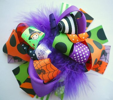 Lil Miss Halloween Loopy Hair Bow-Halloween, loopy, hairbow, hair bow, orange, black, green, boutique, witch, purple