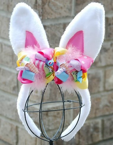 Baby Girls White Easter Bunny Ears Headband with Bows-easter bunny ears headband, bunny ears, rabbit ears, bunny rabbit ears, easter, easter headband, easter bows