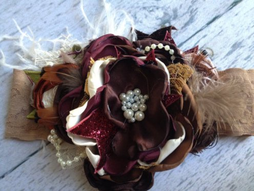 Burnt Almond Fudge Vintage Flower Headband