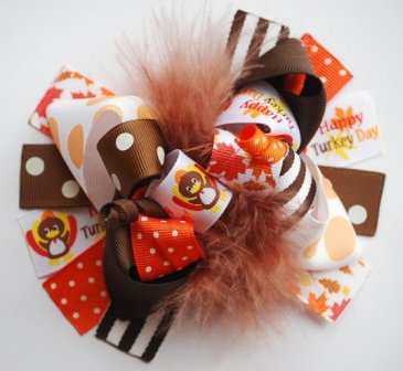 Thanksgiving Turkey Loopy Hair Bow-Thanksgiving, Turkey, Loopy, Hairbow, hair bow, funky, boutique, fun, orange, brown, fall, brown, orange, white
