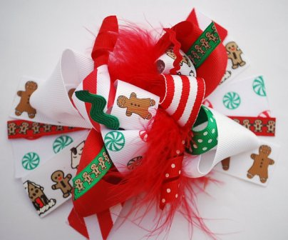 Gingerbread House Loopy Hair Bow-gingerbread, gingerbread house, loopy, hairbow, hair bow, green, red, white, brown, boutique, fun, funky, Christmas, holiday