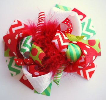Christmas Red & Green Chevron Loopy Hair Bow-Christmas, red, green, chevron, loopy, hairbow, hair bow, holiday, boutique, funky, fun