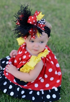 Miss Mouse Red Polka Dot Pillowcase Dress-minnie mouse dress, baby minnie mouse outfit, boutique minnie mouse outfit, red, and, black, yellow, polka dots, newborn, infant, baby, girl, girls, baby boutique clothing, dress, over the top, hair, bow, headband, outfit, set, disney, mickey, mouse, vacation