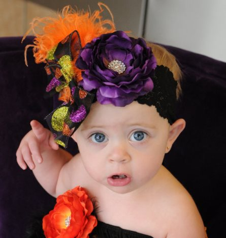 Dark Purple Fun Flower & Feathers Polka Dot Lace Halloween Headband-orange, green, purple, halloween, headband, infant, baby, girl, boutique