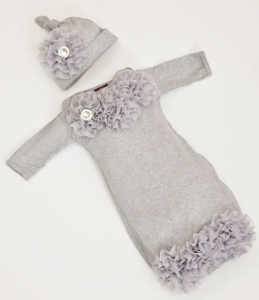 Infant Baby Layette Grey Cotton Baby Gown with Grey Chiffon Flowers and Rhinestones-gray, grey, newborn infant, layette gown, hat, take home, take me home, hospital gown, newborn gown, baby girl, couture, boutique
