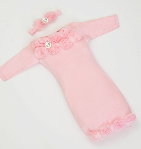 Infant Layette Pink Baby Gown with Shabby Chiffon Flowers & Rhinestones-newborn baby gown, newborn hospital take home gown, infant, baby, girl, boutique, couture, baby boutique, take me home, take home gown, outfit, set pink, couture baby outfit