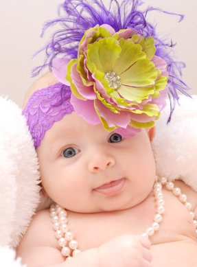 Purple & Lime Lace Flower Headband-feather, feathers, green, purple, infant, baby girl, summer, boutique