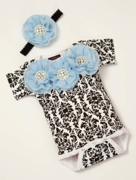 Black Damask Baby Girl Onesie with Blue Rhinestone Flowers & Matching Headband Outfit Set-baby blue, black, damask, outfit, set, infant, baby girl, boutique clothing, outfit, set, newborn, chiffon, flowers
