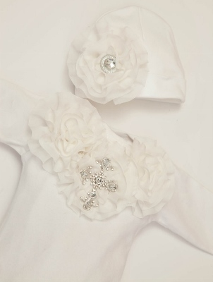 Baby Girls White Shabby Chiffon Rhinestone Cross Layette Gown & Headband Set-christening, baptism, dedication, cross, bling, rhinestone, newborn, infant, baby, girl, layette, gown, sack, sac, white, cream, wedding