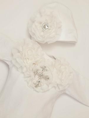 Baby Girls White Shabby Chiffon Rhinestone Cross Layette Gown & Headband Set-christening, baptism, dedication, cross, bling, rhinestone, newborn, infant, baby, girl, layette, gown, sack, sac, white, cream, wedding