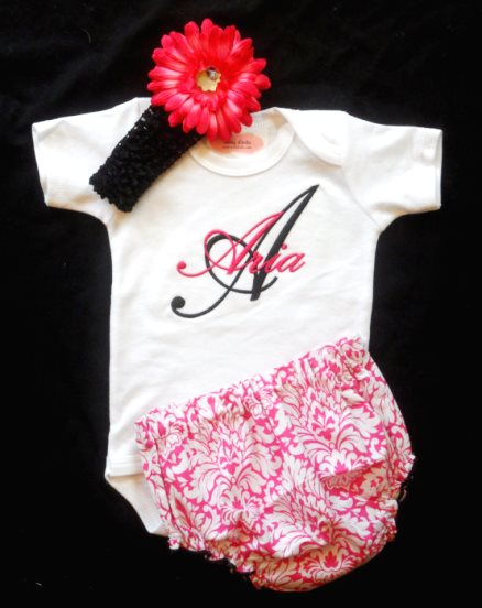 Black & Hot Pink Damask 3pc. Outfit Set-personalized, custom, outfit, newborn, infant, baby, girl, boutique, boutique, clothing, custom