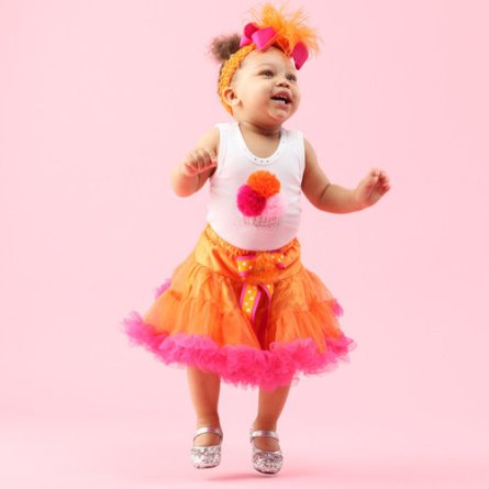 First Birthday Hot Pink & Orange Sweet Cupcake Birthday Pettiskirt 3pc. Outfit Set-bling, rhinestone, cupcake, cupcakes, 1st, birthday, first, tank top, pettiskirt, hair bow, outfit, boutique, clothing