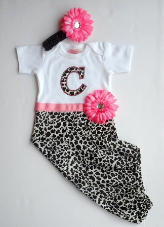 Newborn Pink Cheetah Flower Gown-take me home, hospital, newborn, infant, baby girl, animal print, pink, black, sac, sack, layette, gown