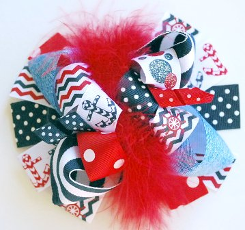 Nautical Chevron Loopy Hair Bow-sail, anchor, boat, navy, ship, july 4th, red, white, blue, hairbow, bow, sail, sailing