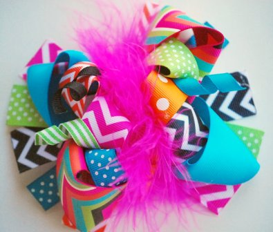 Bold Summer Chevron Loop Hair Bow-colorful, bright, summer, chevron, stripes, hairbow