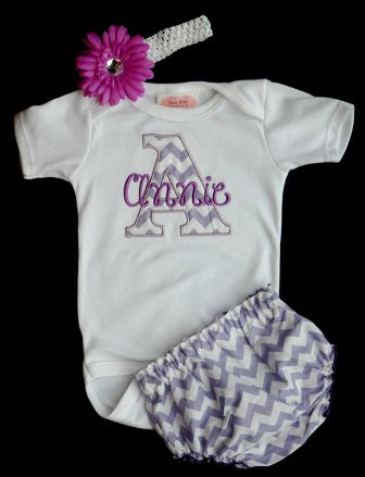 Sweet Lavender Chevron 3pc. Infant Outfit Set-purple, lavender, chevron, outfit, onesie, shirt, bloomer,set, headband, newborn, infant, baby, girl