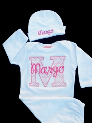 White & Pink Chevron Custom Personalized Take Me Home Newborn Gown & Hat Set-newborn, infant, baby, girl boutique, hospital gown, personalized, take me home, take home hospital gown, outfit, set