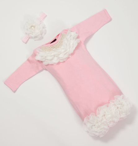 Pink Chiffon Pearl Collar Newborn Layette Gown & Matching Headband Set-light, pink, pearls, newborn, girly, hospital, take home, take me home, layette, boutique clothing, infant, baby girl