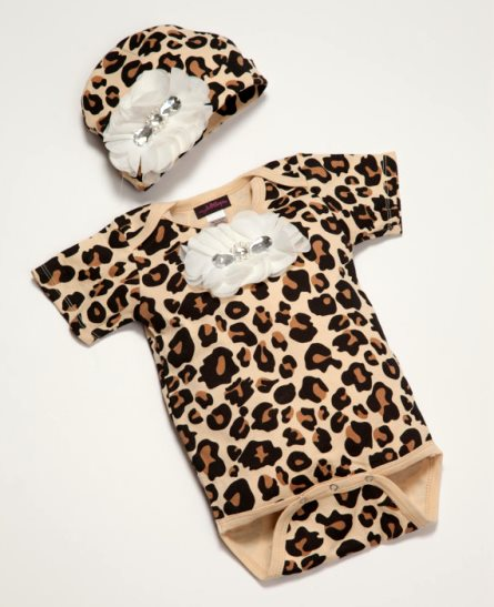 Baby Girl Leopard Print Chiffon Flower Onesie & Headband Outfit Set-brown, leopard, outfit, hat, boutique, clothing, infant, baby, girl, fall, cheetah, animal print, tan, black