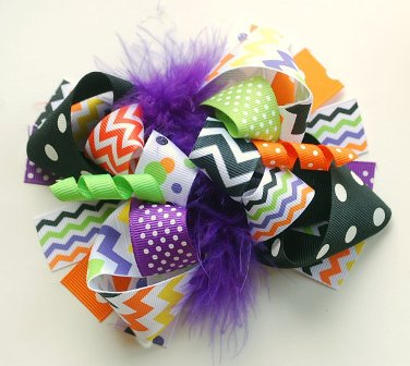 Funky Halloween Chevron Loopy Hair Bow-boutique, funky, fun, Halloween, Chevron, hair bow, hairbow, fall, purple, black, orange