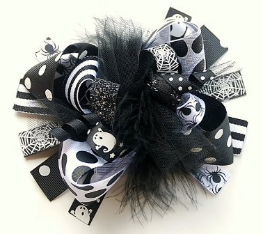 Black & White Halloween Loopy Hair Bow-boutique, funky, fun, black, white, halloween, ghost, spider