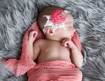 Coral Lace Rosette Vintage Rhinestone Headband-coral, lace, newborn, infant, baby, girl, girls, headband, bling, rhinestone, rosette, couture, unique, rolled rosette,