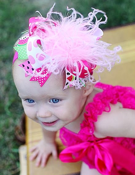 Hot Pink Watermelon Over the Top Hair Bow Headband-hot pink, watermelon, summer, birthday, seeds, green, hairbow, hair, bow, headband, infant, baby, girl, boutique